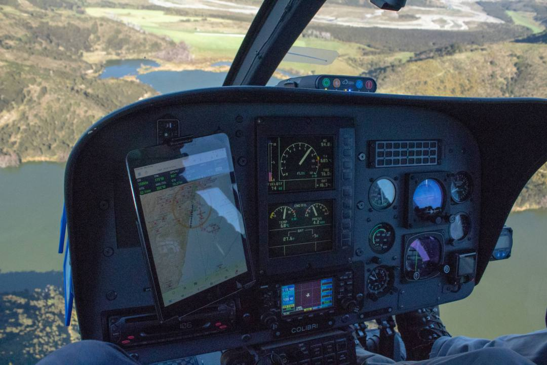 dashboard of helicopter controls