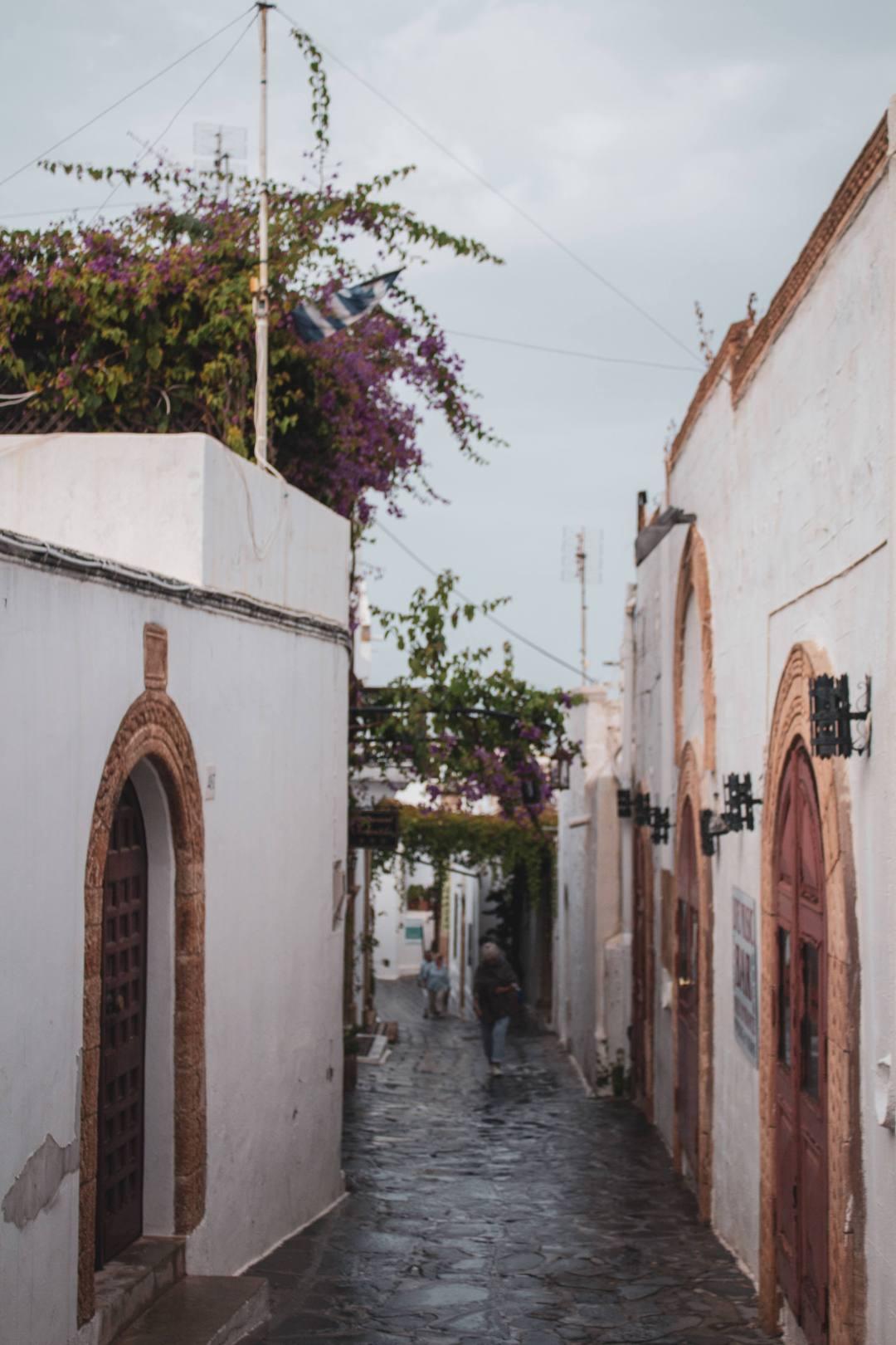 rainy street in lindos