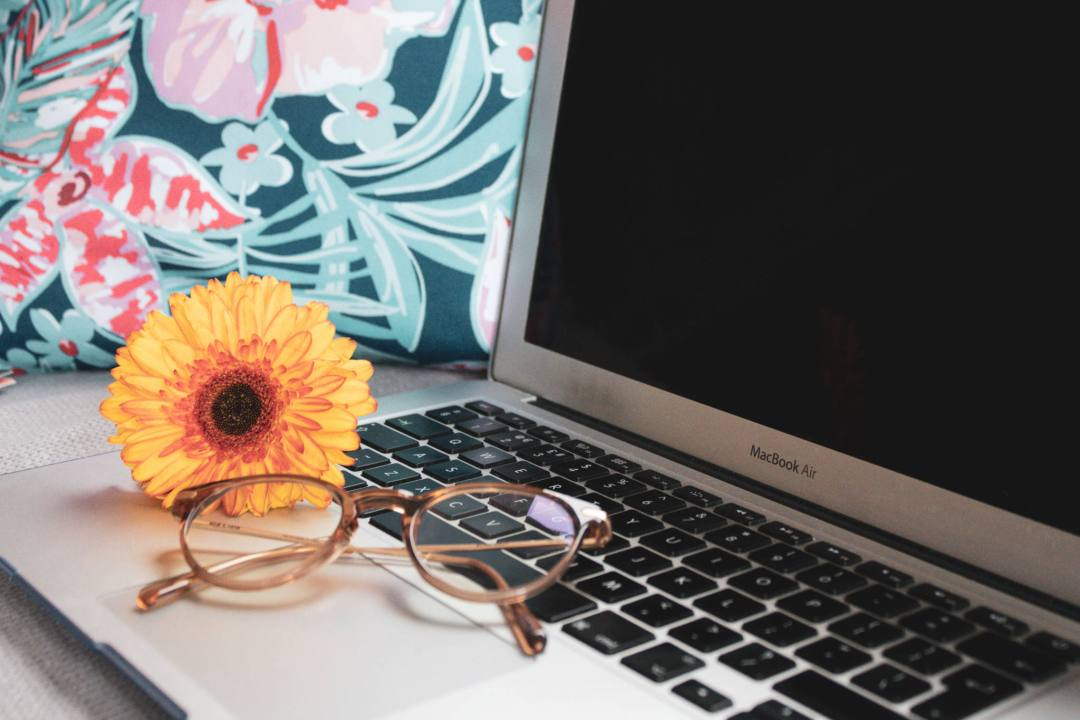 glasses and orange flower on open laptop