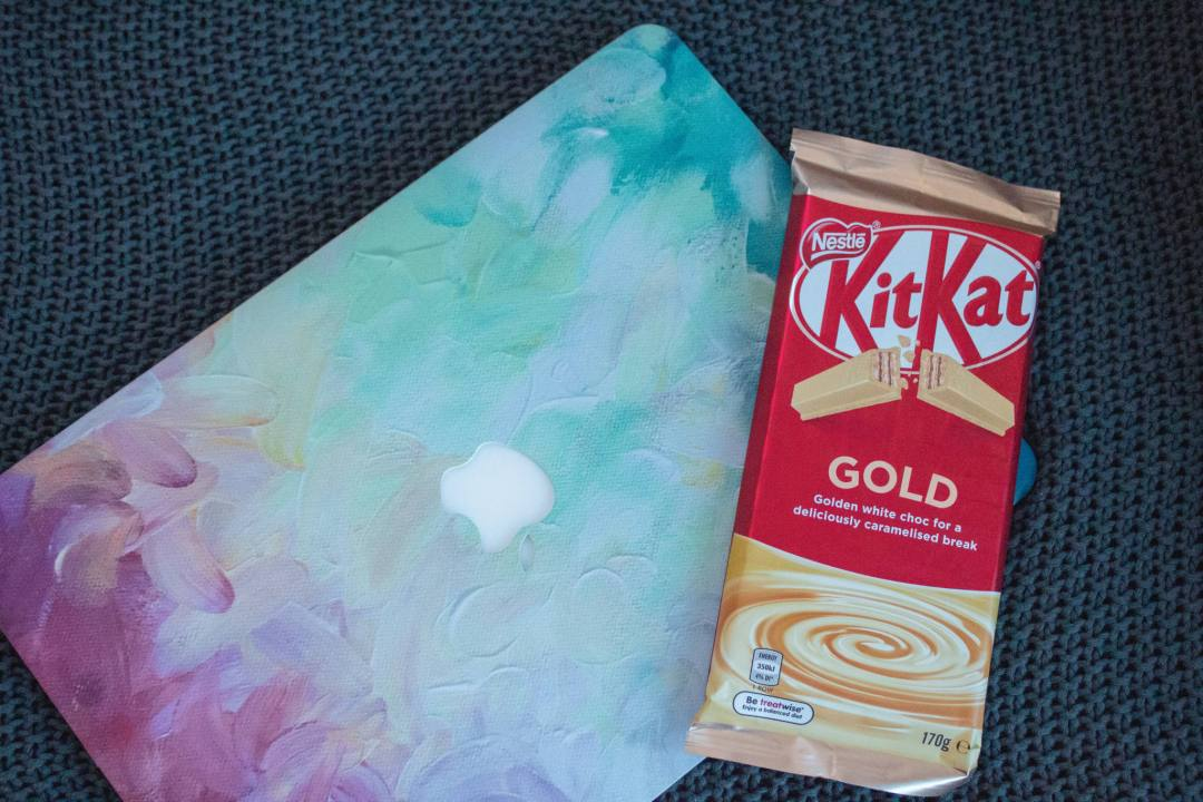 Gold Kit Kat on laptop