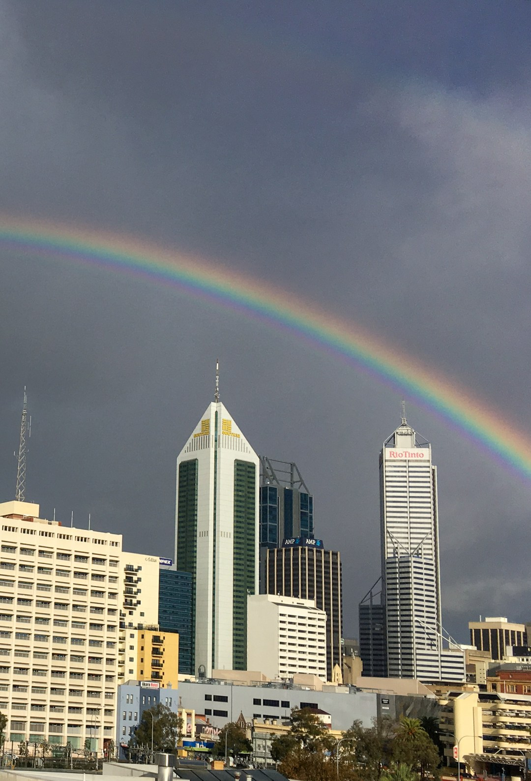 Rainbow over Perth CBD