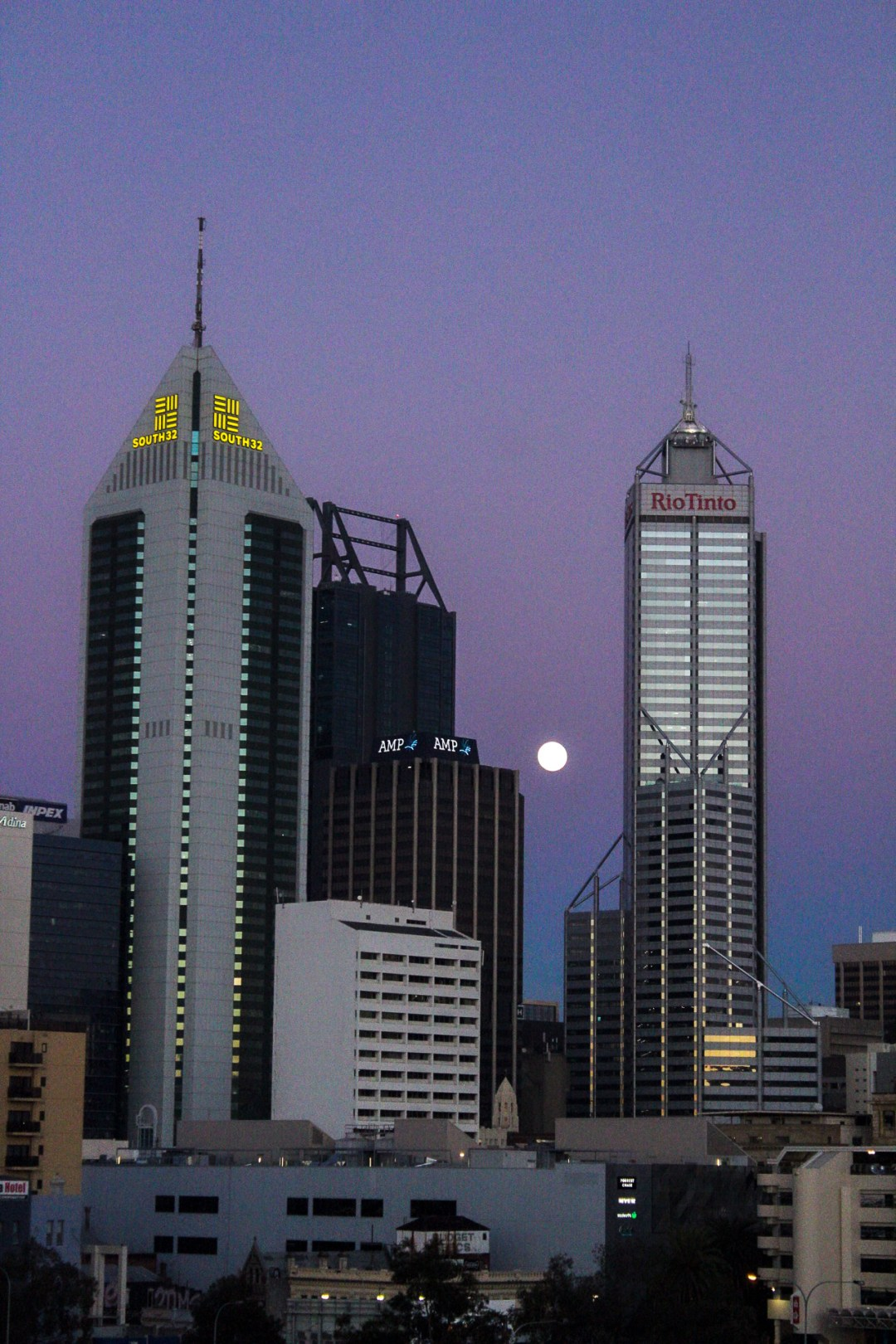 Sunset and moon in Perth CBD