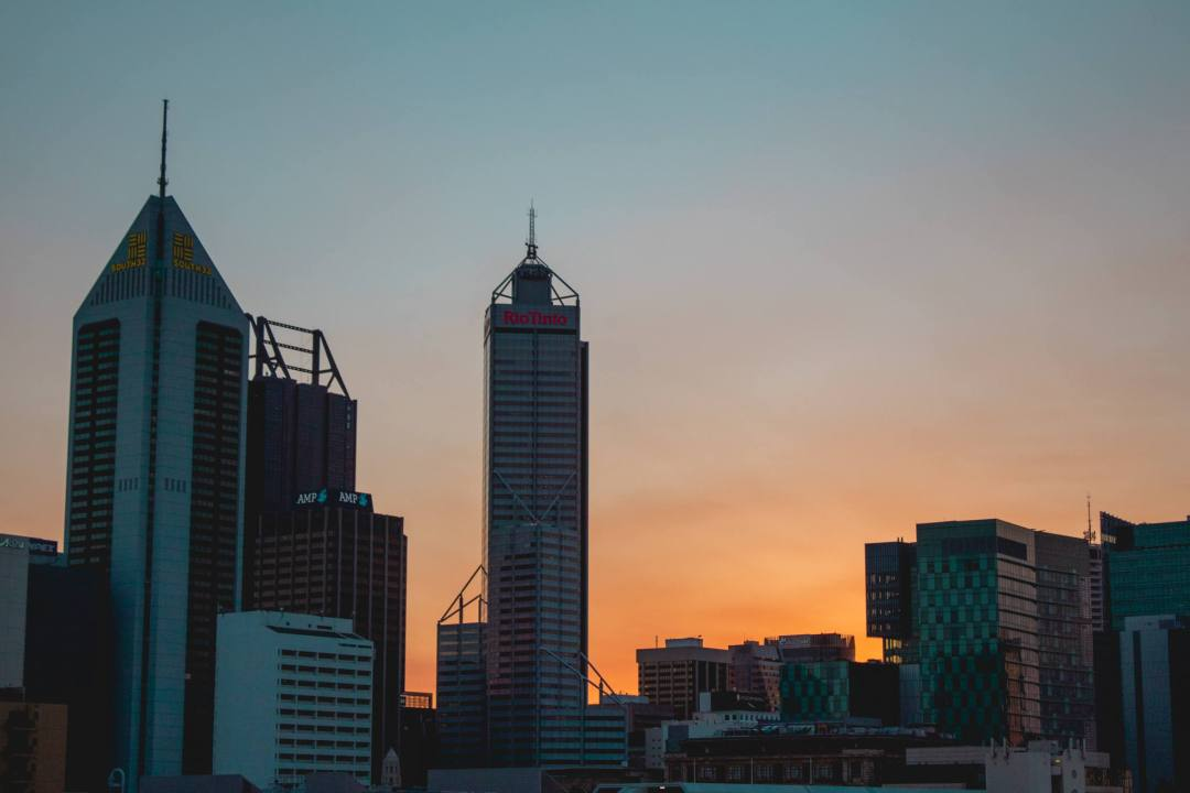 Sunset over Perth CBD