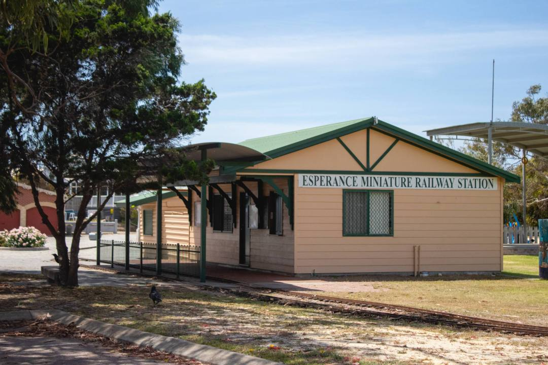 Esperance miniature railway station building and train tracks