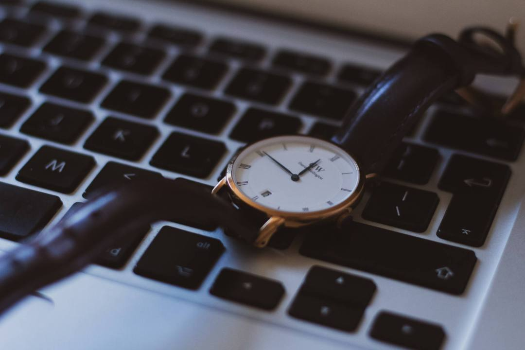Daniel Wellington watch on keyboard