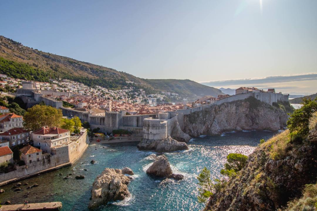 view of dubrovnik old town and city walls