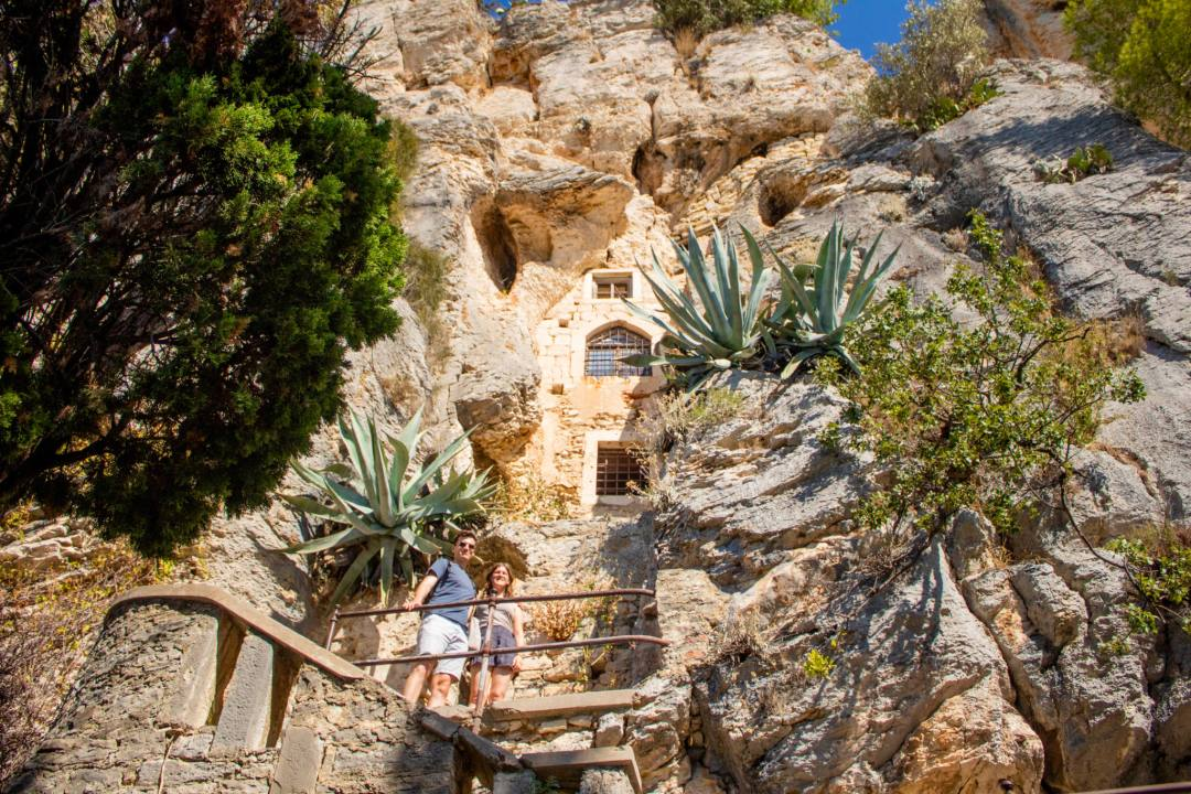 cave built into rocky hillside in split