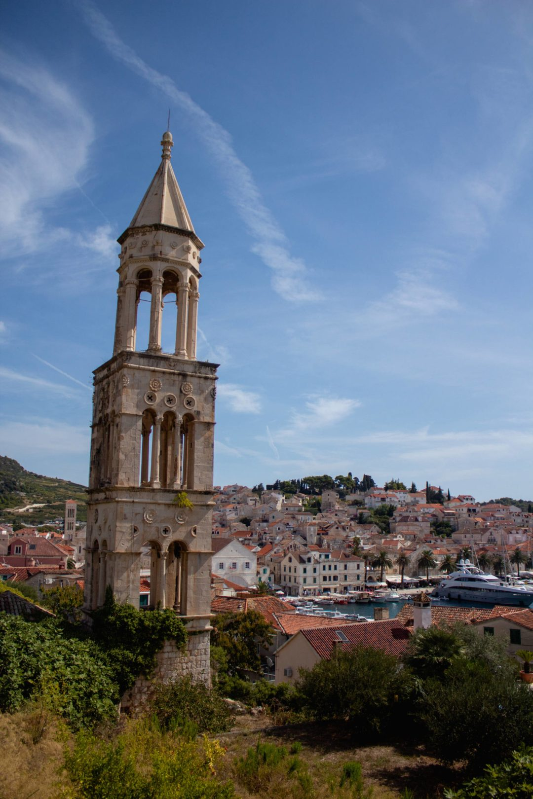 bell tower overlooking hvar old town