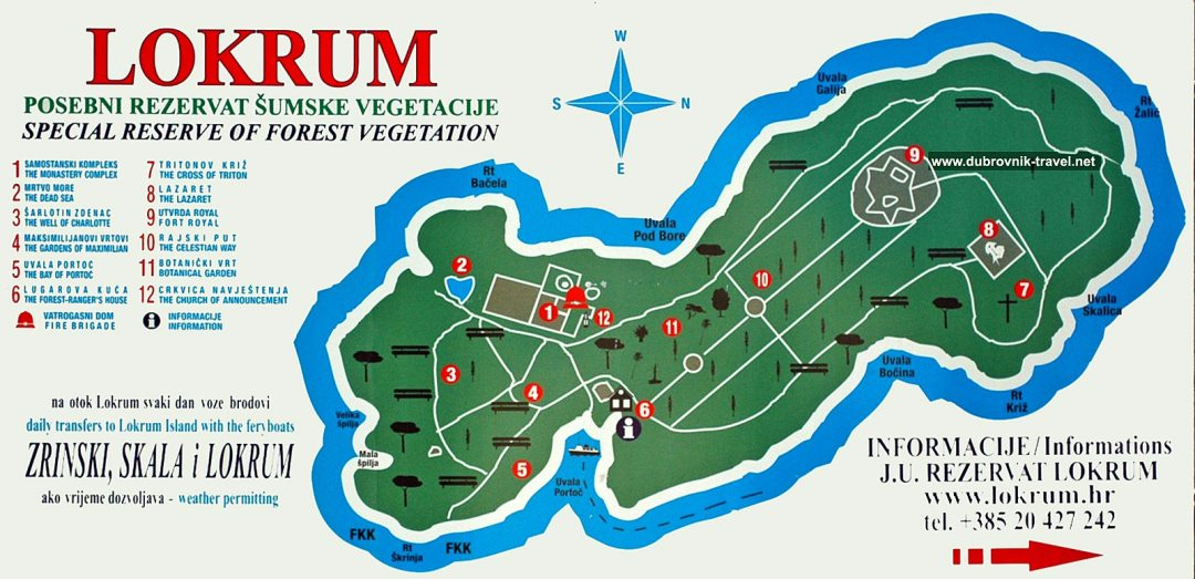 map of key points of interest on lokrum island