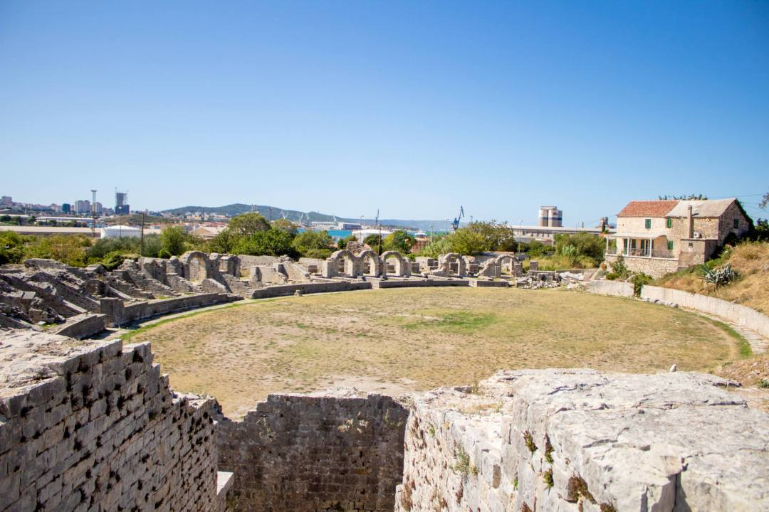 view over salona roman ruins amphitheatre