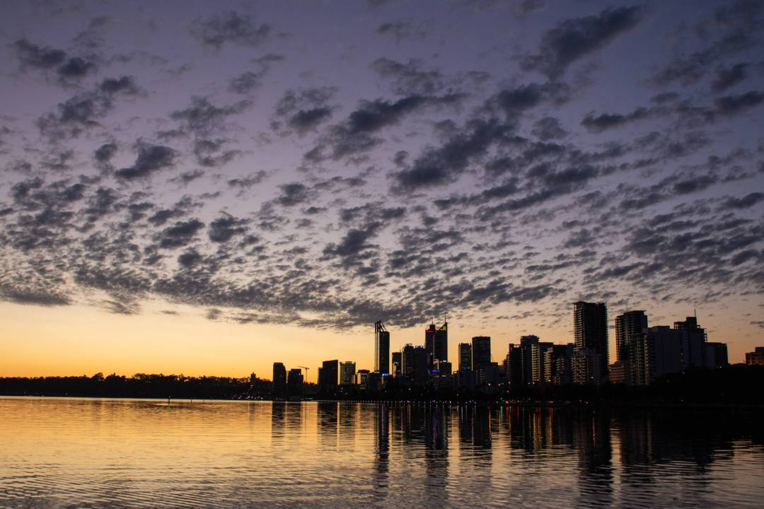 sunset view of perth from heirisson island