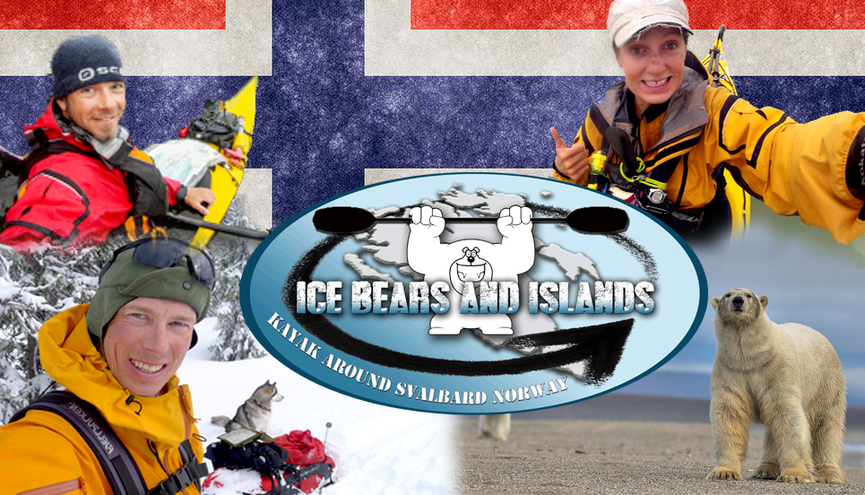 Photo of Norwegian Flag with Tara, Jaime, PG and a Polar Bear in front, along with Ice bears and Islands Logo