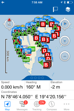 inReach Tracking map shown on the screen of Tethered Iphone.