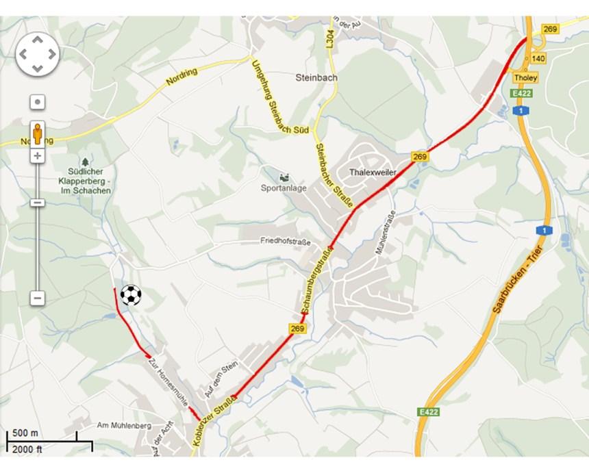 Anfahrtsskizze ab der Autobahnabfahrt Tholey von der A1 kommend
