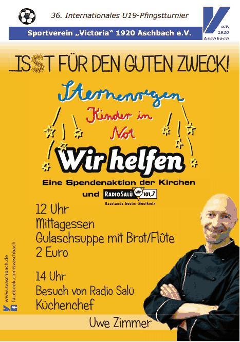 Kommen Sie uns besuchen und essen Sie für einen guten Zweck auf dem Internationalen Aschbacher Pfingstturnier.