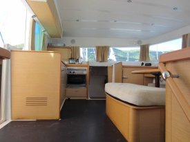 View of galley in salon from starboard hull