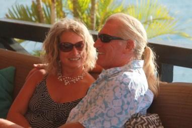 Paul & Gwyn relaxing at Saba Rock (courtesy of www.fraserrustics.com)
