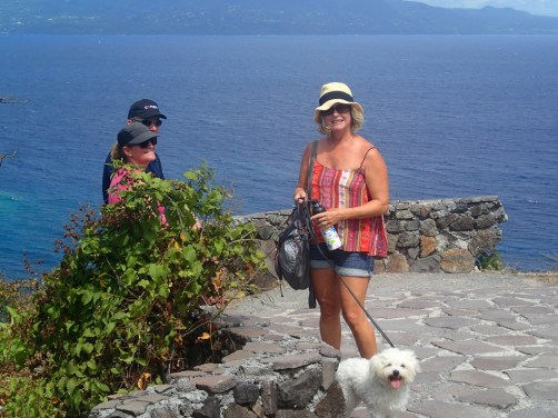 Taking a break just before the summit on our climb to Fort Napolean (Guadeloupe in the background)