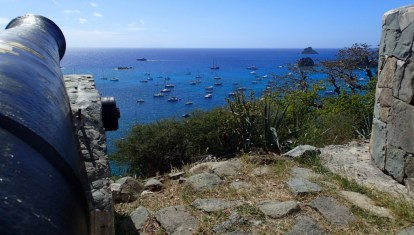 A cannon's view of part of the harbor from Fort Gustave
