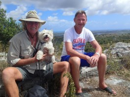 Paul and David taking a break with the eastern part of Antigua stretching behind us to the Atlantic