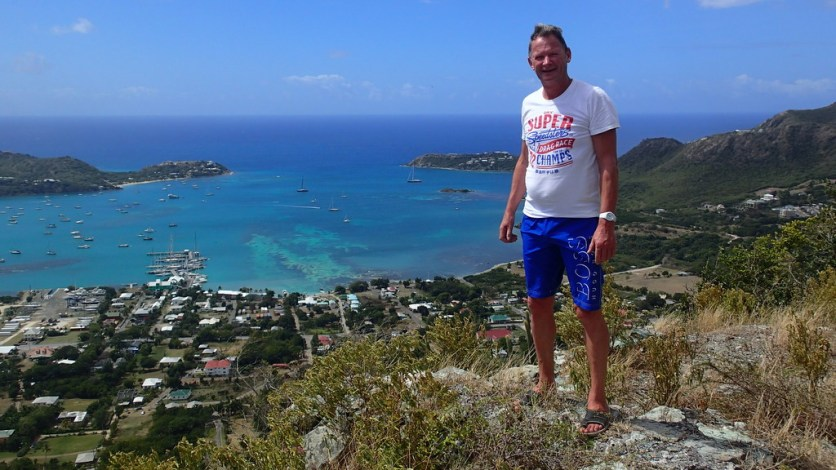 David on the precipice to Falmouth harbour at our highest point in the hike