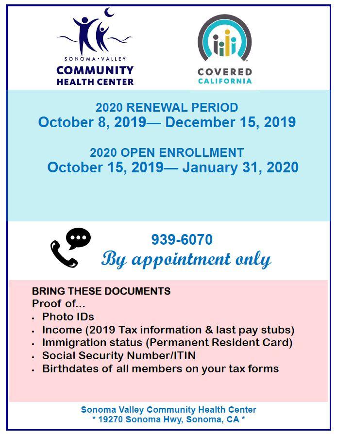 COVERED CA OPEN ENROLLMENT - Sonoma Valley Community Health Center