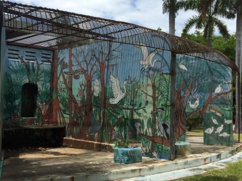 former animal enclosure turned mural