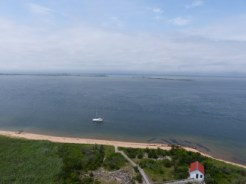 Cheshire at anchor, viewed from Fire Island Light
