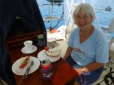 Judy with Lobster lunch, note newly finished cockpit table