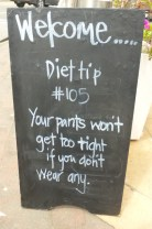 Diet Tip - Just a funny posting on a chalk board.