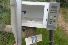 Mailbox - No mail but it works as a mailbox. Not sure what they do for notice to pick up mail. At a cave rest area a broken microwave oven was used for tea and coffee break storage to keep animals out. I'll show that one in a later update.