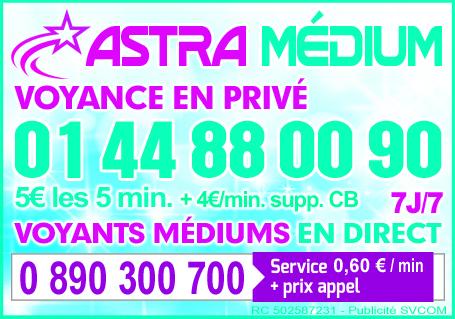 ASTRA MEDIUM – VOYANTS ET MÉDIUMS PAR TÉLÉPHONE 7J/7J AU 0890 300 700