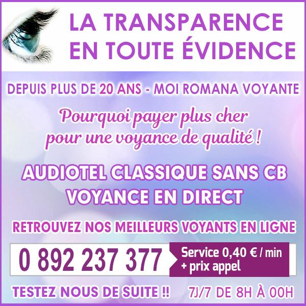 Consulter Romana est une evidence en voyance et dans toute la transparence sans faire tourner le compteur 0892 237 377 (0,40cts/mn + prix appel)