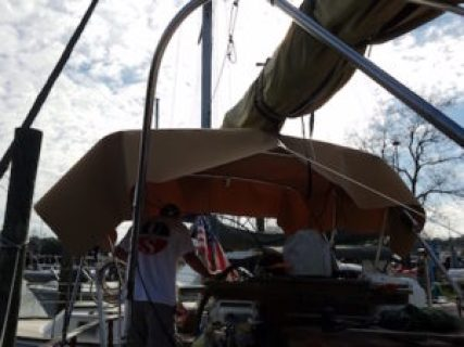 Rough fitting the bimini cover