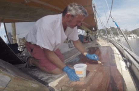 Prewetting the surface with epoxy resin and hardner