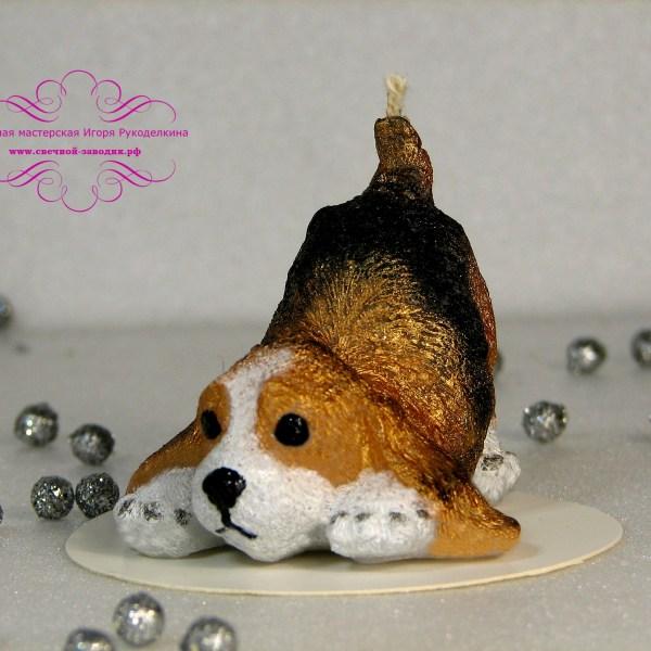 Новогодняя свеча - собака.