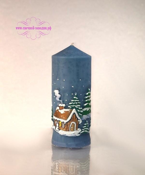 свеча новогодняя снежный домик в лесу