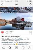 """""""wonderful photos from Stockholm city!"""" skriver @visitstockholm som förra fredagen presenterade några av Thomas stockholmsbilder i sitt instagramflöde. Foto: Skärmklipp"""