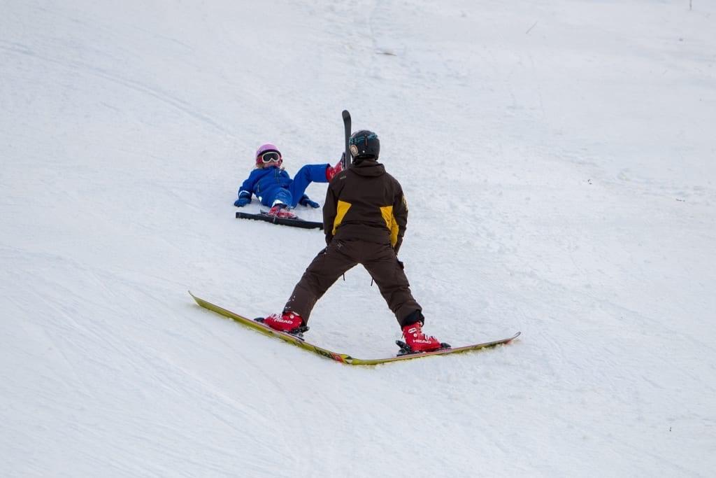 Gamla och unga trivdes i backen. Foto: Morgan Grip