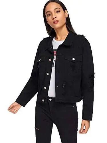 lady wearing black jean jacket on black jeans pants