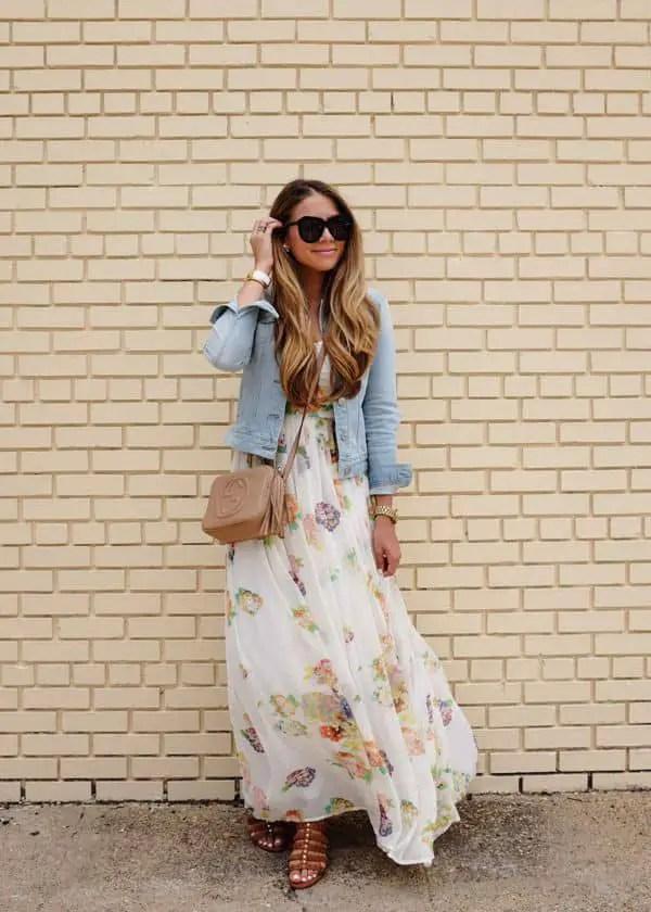 lady wearing jean jacket on long dress