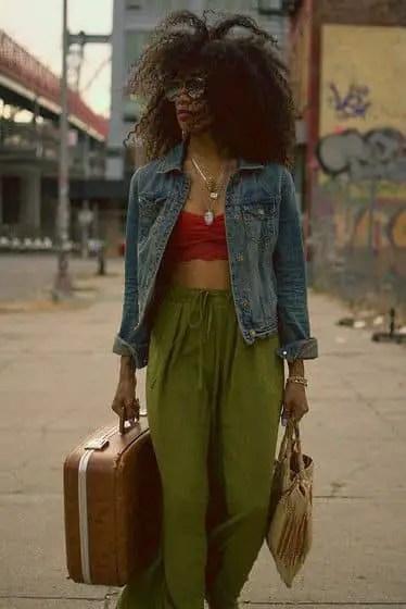 lady wearing jean jacket on pants