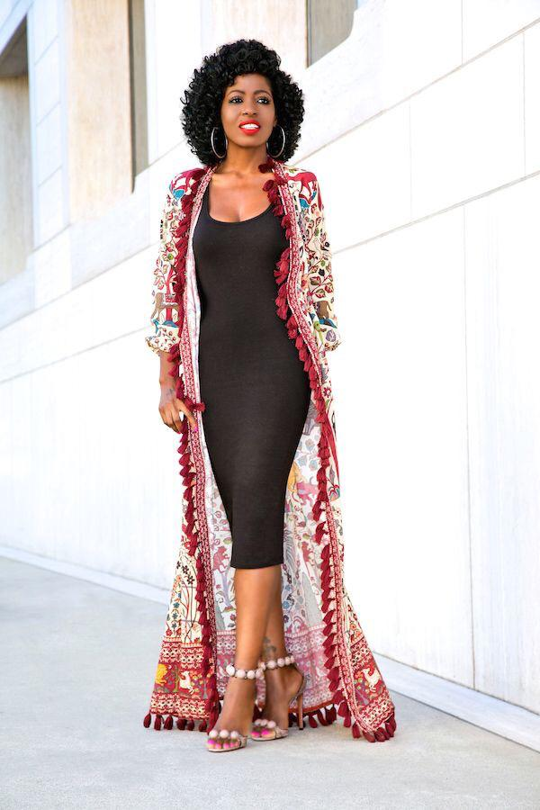 lady in a kimono on black dress - 15 Must-have Types of Dresses for Women