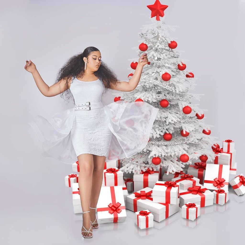 "Nollywood actress, Adunni Ade models for House of Jahdara's new collection called snow white ""The Christmas Edit"""