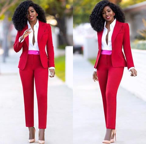 red fitted blazzer with matching pants - Red on Valentine's Day