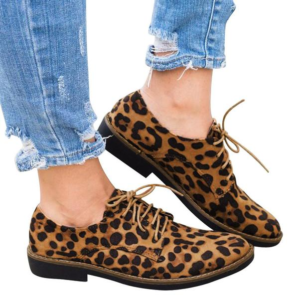 leopard print flat shoes with lace ups - Types of Shoes for Women