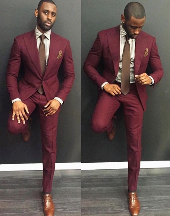 red single breasted suit on a black man