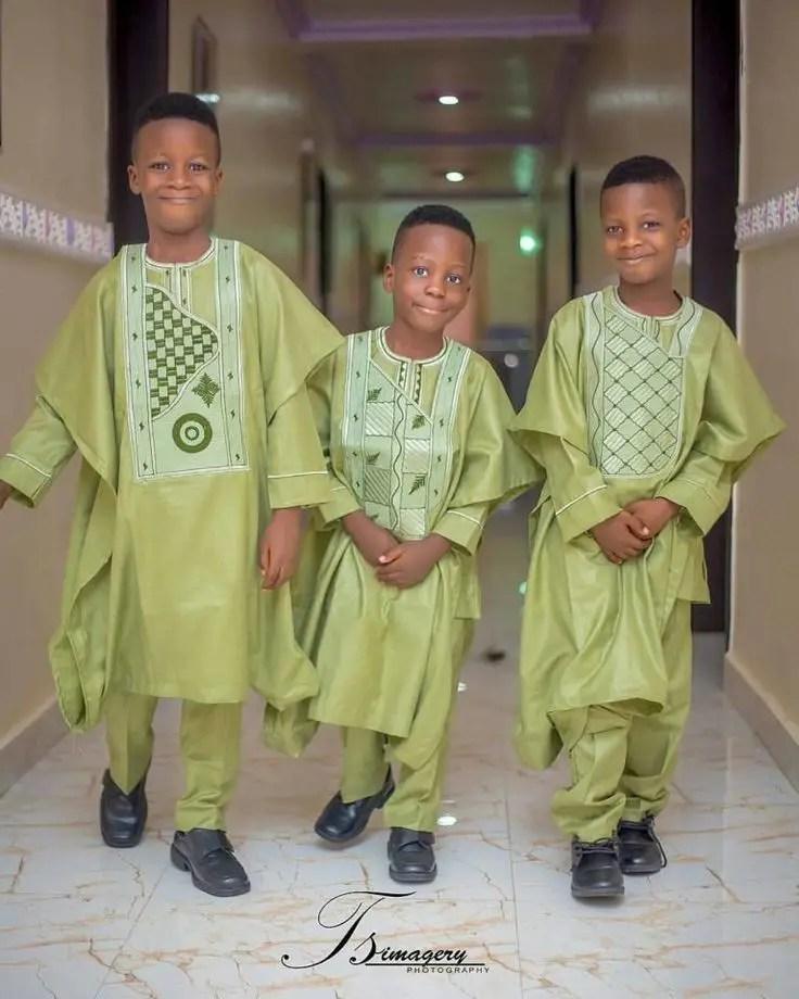 3 boys rocking same colored agbada