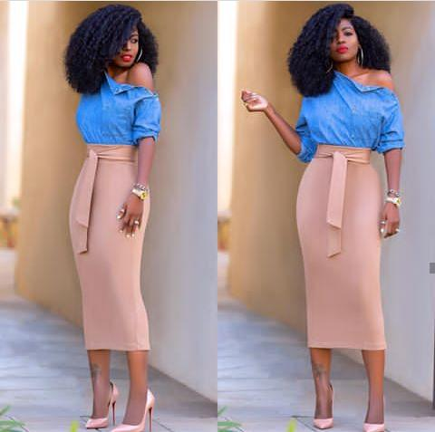 blue top and peach midi skirt - 7 Stylish Ways to Rock a Midi Skirt