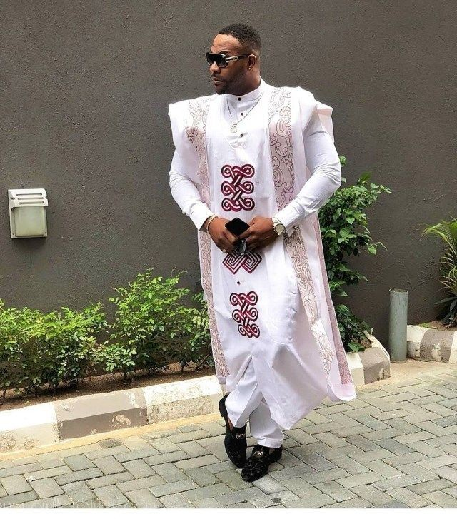 Man in white designed agbada